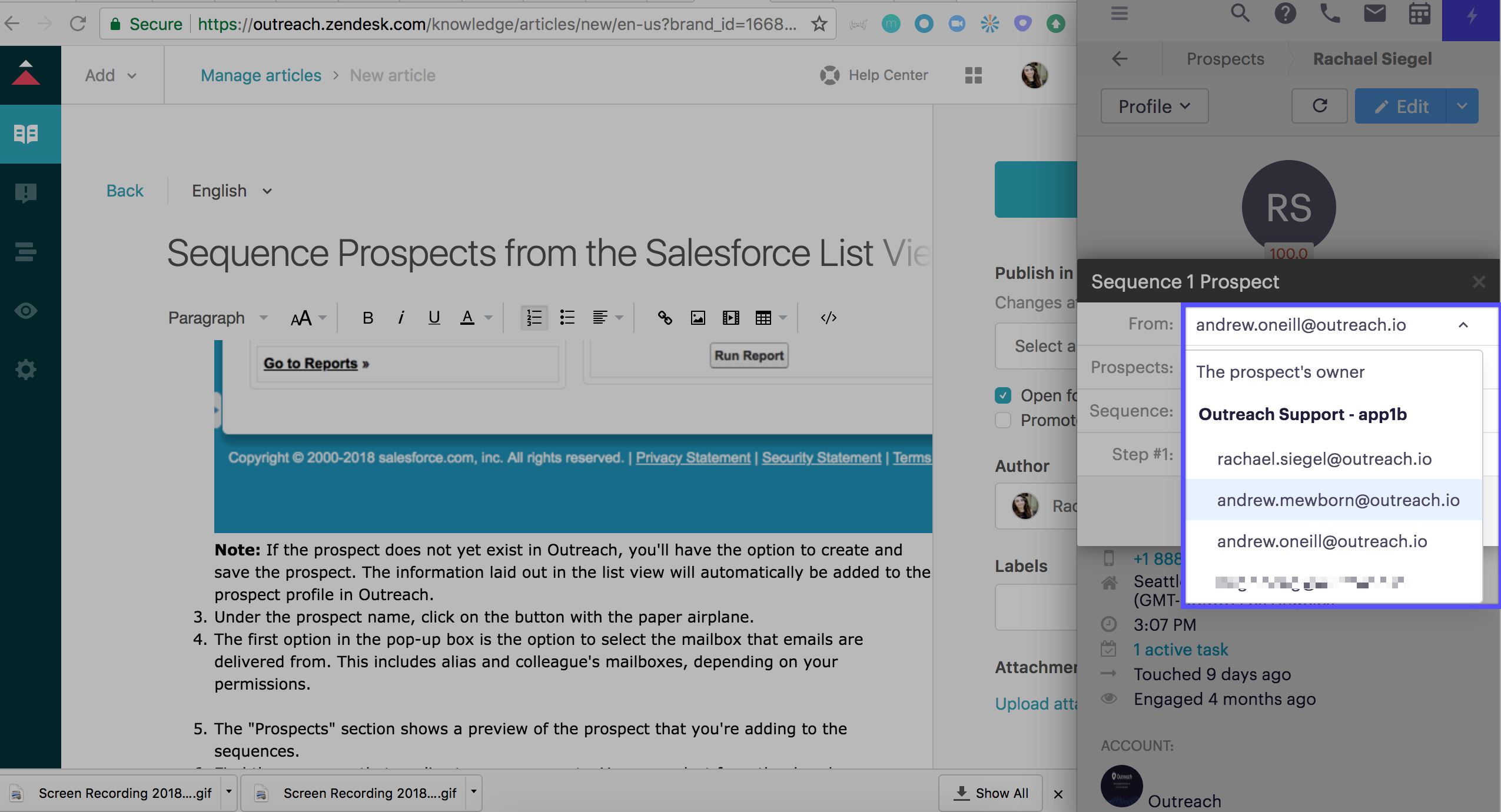 Sequence Prospects from the Salesforce List View – Outreach Support