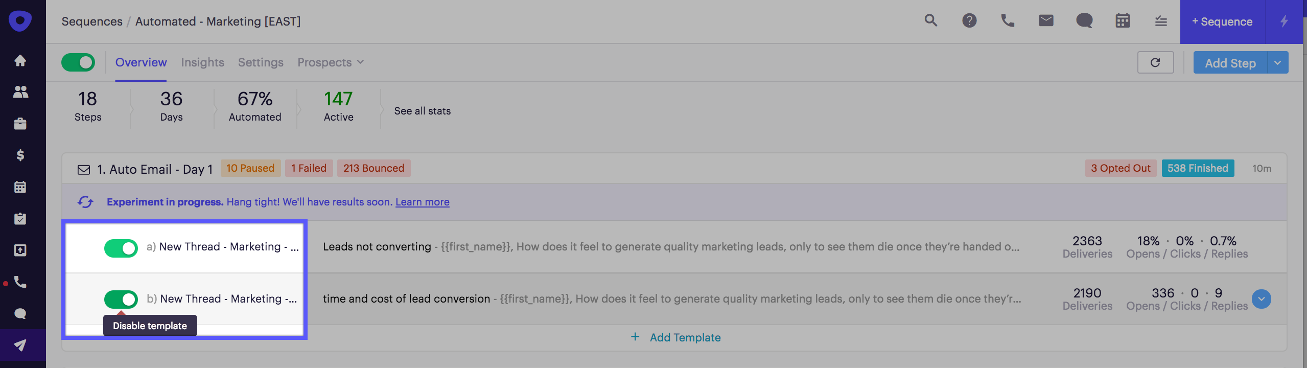 A/B Testing Sequence Steps – Outreach Support