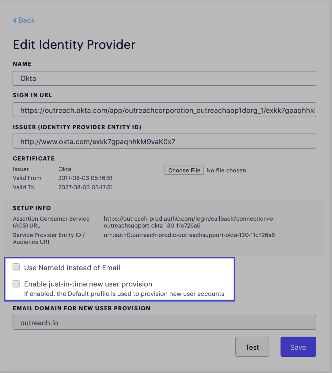 Advanced Settings For Identity Provider (SSO) – Outreach Support
